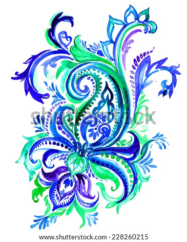 large indian paisley motif on white. hand drawn watercolor painting. - stock photo