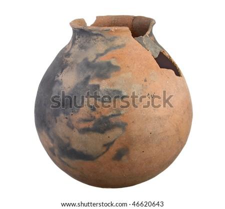 Large Indian Pot against white background - stock photo