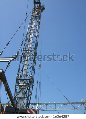 large industrial crane with rigging