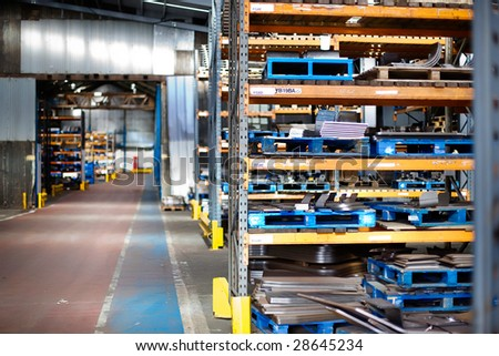 Large Industrial Factory Storage Warehouse - stock photo