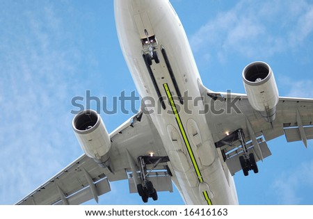 large jet aircraft on landing - stock photo