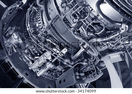 large jet engine detail viewed from below - stock photo