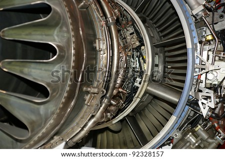 Large jet engine detail viewed from below (other views available). - stock photo