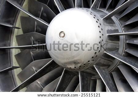 Large jet engine turbine blades - stock photo