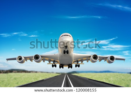 Large jet taking off runway - stock photo