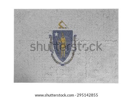 Large jigsaw puzzle of 1000 pieces - flag - Massachusetts - stock photo