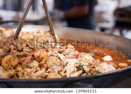 Large Kettle of Greek Vegetables at Food Vendor - stock photo