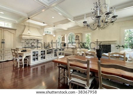 Large kitchen in luxury home - stock photo