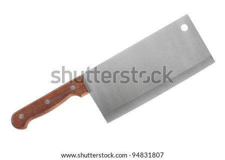 Large knife with wooden handle and a wide blade - stock photo