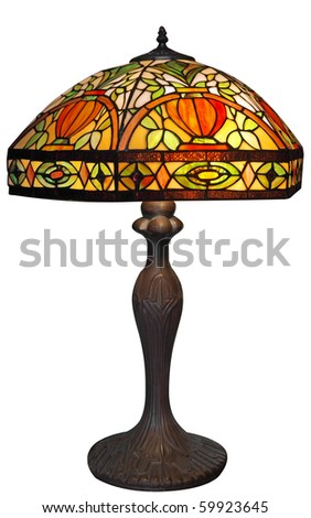 Large Lead-light Lamp isolated with clipping path - stock photo
