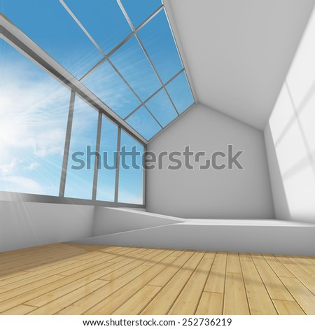 Large lounge with panoramic window. 3D render.