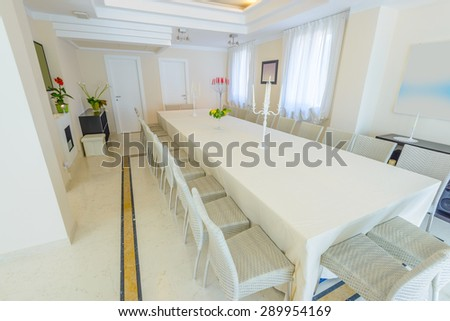 Large luxury dining room interior. New empty hotel or home space.