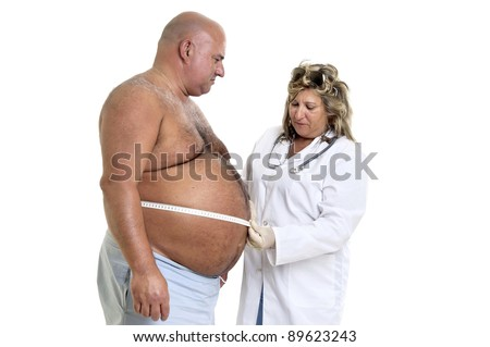 Large male patient with big belly and doctor - stock photo