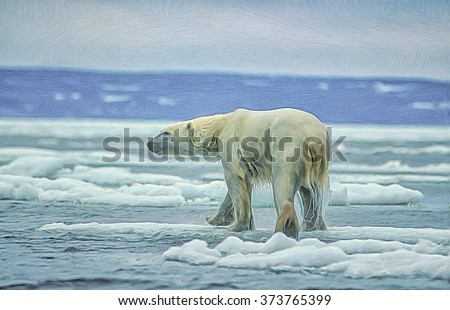 Large male polar bear walking on ice floe in Canadian Arctic.Digital oil painting - stock photo