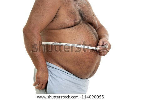 Large man belly with measuring tape isolated in white - stock photo