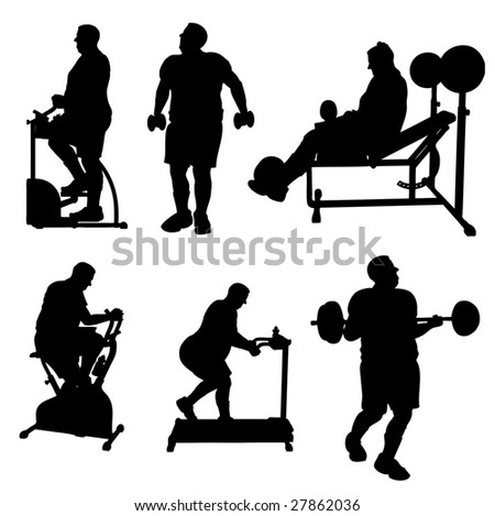 Large Man Exercise Bitmap Silhouettes - stock photo