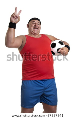 Large man with soccer ball isolated in white - stock photo