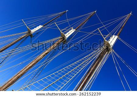 large masts of old sailing ship - stock photo