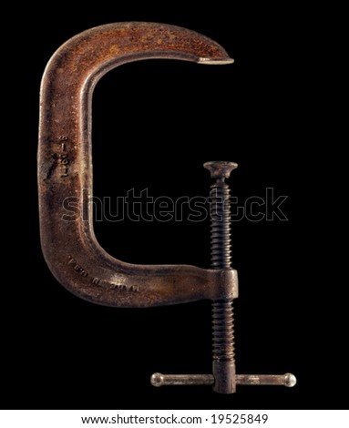 Large metal C clamp - stock photo