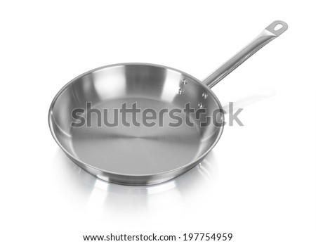 Large metal frying pan, image is taken over a white background - stock photo