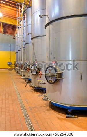 Large Metal Wine Casks at a California Winery. - stock photo