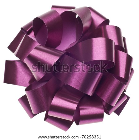 Large Metallic Purple Gift Bow Isolated on White with a Clipping Path. - stock photo