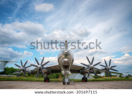 large military plane with propellers - stock photo