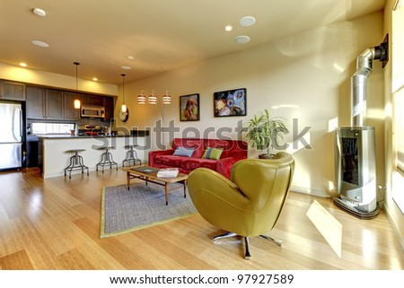 Large modern living living with kitchen and  hardwood floor. - stock photo