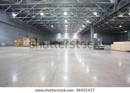 Large modern storehouse with some goods