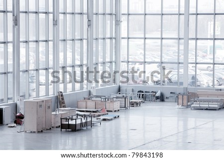 Large modern storehouse with some goods - stock photo