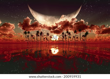 large moon over red sunset. Elements of this image furnished by NASA  - stock photo
