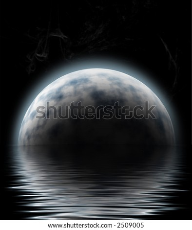 large moon reflecting over smooth waves on water blurred stars on black outer space nice web background - stock photo