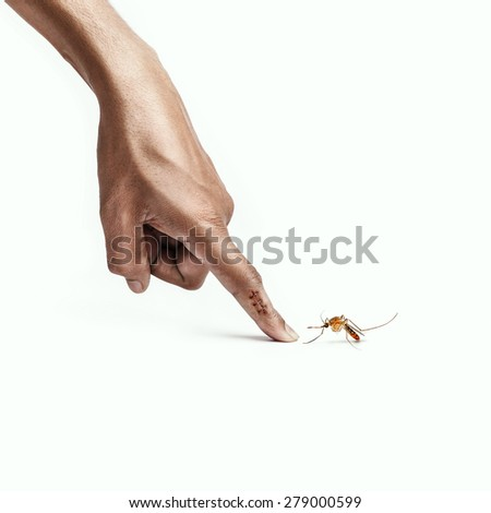 Large Mosquito bite on man's finger - stock photo
