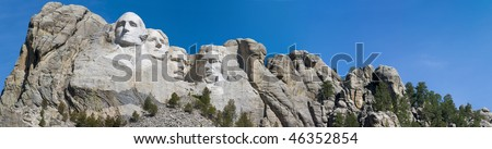 Large Mt. Rushmore panorama landscape image with blue sky - stock photo
