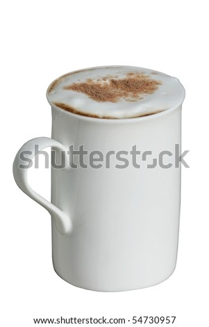 Large mug of coffee with cream and chocolate sprinkled on top - stock photo