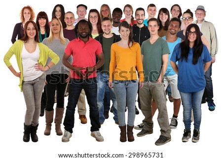 Large multi ethnic group of smiling young people isolated on a white background - stock photo