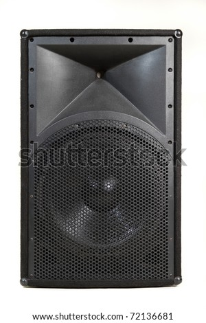 Large musical speaker on white background, suitable for concert or stage installation - stock photo
