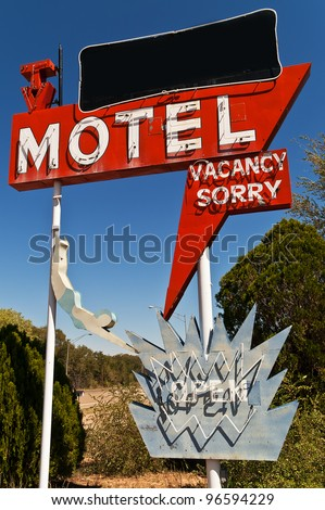 Large neon retro motel sign on Route 66 - stock photo