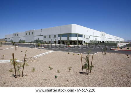 Large, New Distribution Warehouse Exterior - stock photo