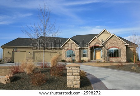 Large nice one level house - stock photo