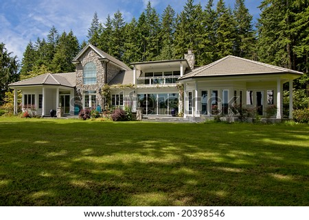 Large Northwest Contemporary Home - stock photo