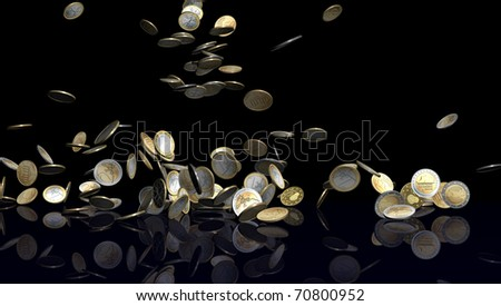Large number of Euro coins falling on black reflective floor. Coins are from various Euro countries like Germany, Greece, Belgium, Netherlands, Finland, France and Italy. - stock photo