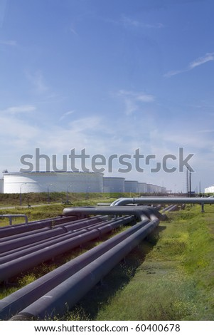 Large oil industry with blue sky - stock photo