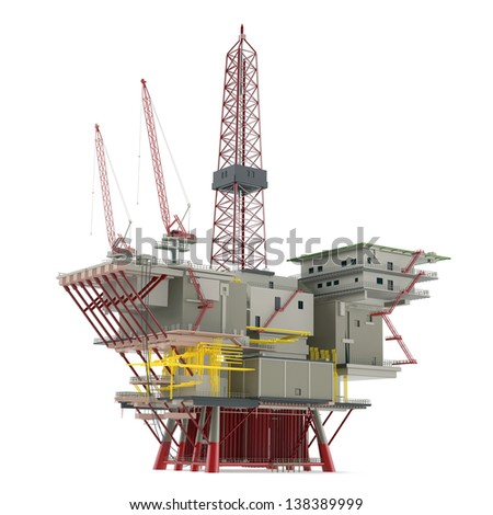 Large Oil Platform with area for helicopters and several cargo cranes. - stock photo