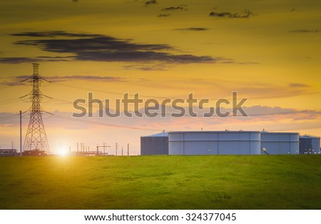 Large oil tank in the morning , Oil Refinery factory , petrochemical plant , Petroleum - stock photo