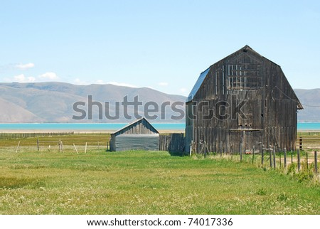 Large old barn near Bear Lake, Idaho. - stock photo
