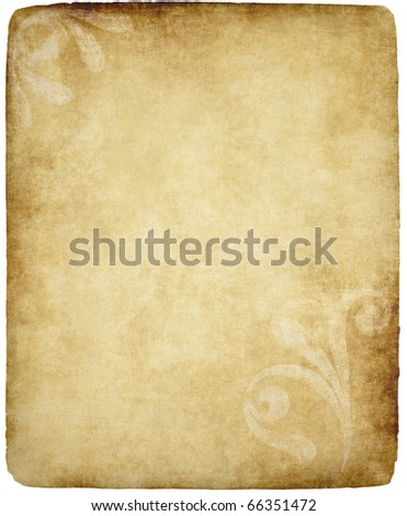 large old paper or parchment background texture with large floral design - stock photo