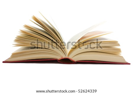 large open book isolated on white background - stock photo