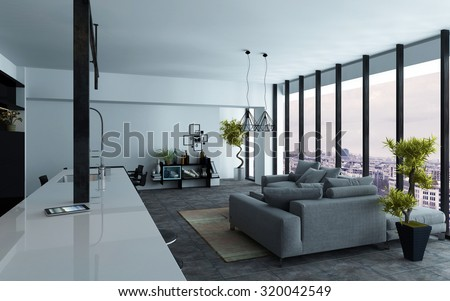 Large open-plan living room interior with panoramic view windows and grey and white decor, view down the length of the room, 3d rendering - stock photo
