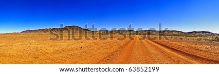 Large outback panorama with clear sky - stock photo